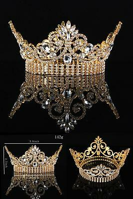 Fumud Large Weddding Bridal Tiara Crown Clear Rhinestone Beauty Pageant Party