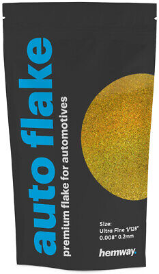 "Hemway Gold Holographic Metal Flake Auto Car Bike Glitter Paint 0.008"" 200 micro"