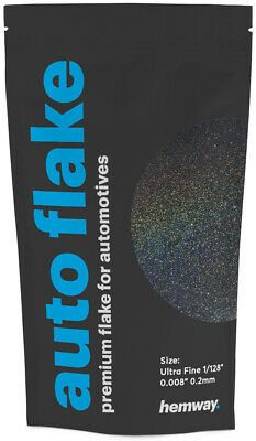 "Hemway Black Holographic Metal Flake Auto Car Bike Glitter Paint 0.008"" 100g"