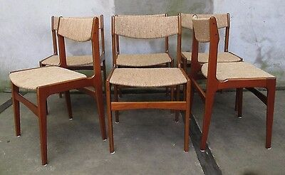 SET OF SIX DANISH MODERN UPHOLSTERED TEAK DINING CHAIRS mid century side