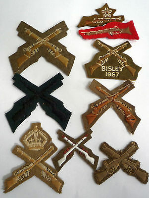 A Collection Of 9 X Genuine Marksman Cross Rifles Cloth Badges / Patches