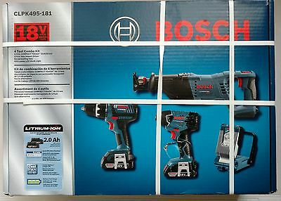 BOSCH 18V 2 Ah Cordless Lithium-Ion 4-Tool Combo Kit CLPK495-181 BRAND NEW