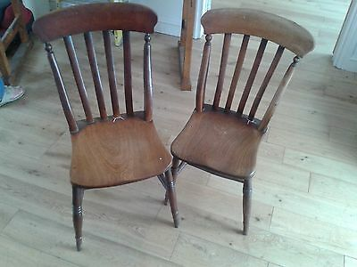2 x Antique Elm Chairs Occasional Chairs Dining Chairs