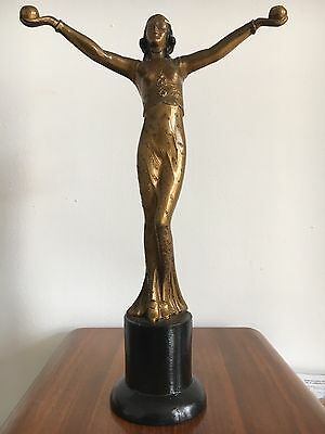 Spectacular Iconic 1930s Art Deco Spelter Lady Figure Original!