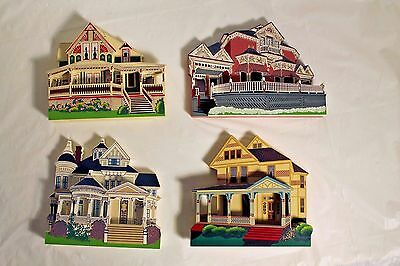 Lot of 4 Shelia's Collectibles Wood Wooden Houses 1996 Arkansas 3D Wings Terry