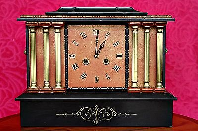 Antique 'Smiths Enfield' Marble & Wood 8-Day Mantel Clock with Chimes