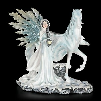 Elves Figurine - Bruma with Pegasus - Winter dream - Fantasy Decorative Statue