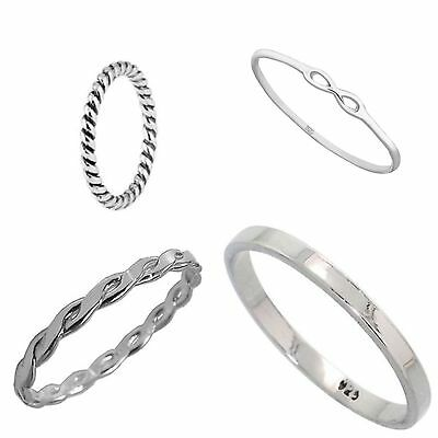 New Set Of 4 Sterling Silver Stacking rings Inc Weave,rope,2mm Flat,Infinity