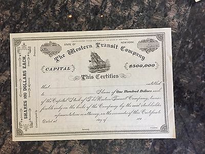 orig CAPITAL STOCK Certificate 188_ WESTERN TRANSIT COMPANY New York STEAMSHIPS