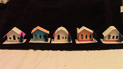 "5 Vintage Putz Cardboard Christmas Tree House Ornaments 3 1/2"" By 2"" By 2 1/2"""