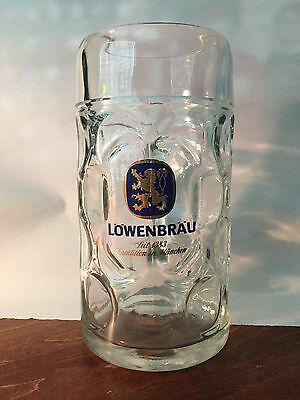 New Lowenbrau 1L Glass German Beer Mug - FREE SHIPPING