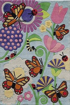 Momeni Lil Mo Whimsy Collection, Butterflies & Lady Bugs, 4x6 Rug -FREE SHIP