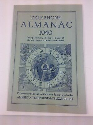 Vintage 1940 Telephone Almanac, AT&T, Bell System