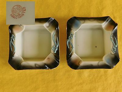 Dragon Ware Moriage Black SET OF TWO ASHTRAYS  Vintage have more items Japan
