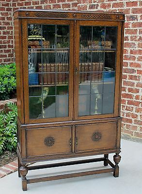 Antique English Oak Jacobean Bookcase Display Cabinet Leaded Glass Tudor Style