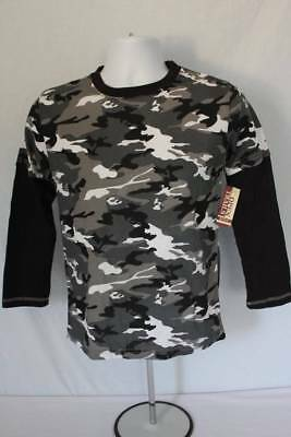 NEW Boys T Shirt Size 6 - 7 Small Top Black Gray Camo Long Sleeve Camouflage