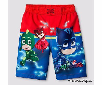NWT PJ Masks Boys Catboy Gekko Owlette Swimsuit Swim Trunk Hoodie Short 2T 3T 4T