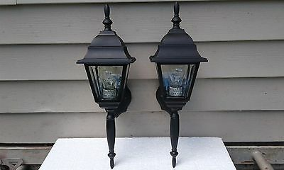 Vintage Pair Of Outdoor Porch/patio Light Fixtures Lantern Beveld Glass Sconce