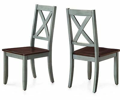 Farmhouse Dining Chair Set 2 Antique Coastal Living Room Blue Brown Solid Wood