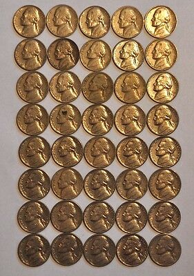 40 Jefferson Head Nickels Mixed Dates 1940's -64 A Great Old Batch. Roll #3