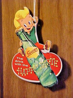 Vintage Squirt Soda Fan or Light Pull General Store Advertising Boy Happy Taste