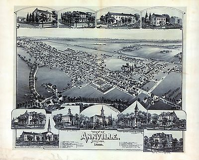pa7 Antique old map PENNSYLVANIA genealogy family history ANNVILLE 1888