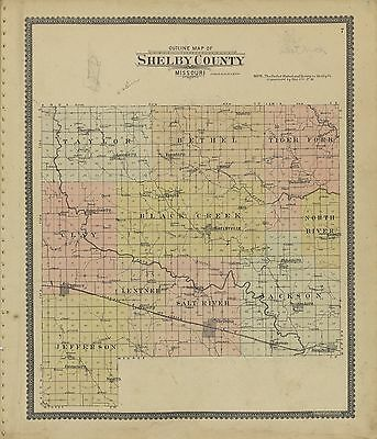 SHELBY COUNTY Missouri 1902 atlas plat maps old GENEALOGY history Land P111