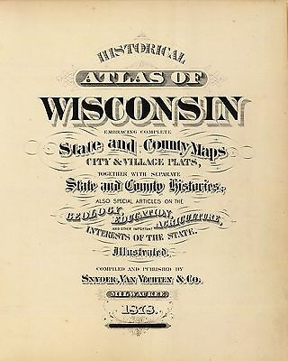 1878 WISCONSIN STATE ATLAS maps old GENEALOGY GHOST TOWN TREASURE HUNTING DVD S3