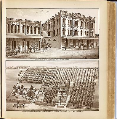 TULARE COUNTY CALIFORNIA maps old GENEALOGY 1892 Atlas LAND OWNER DVD plats P34