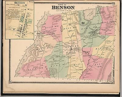 1869 RUTLAND COUNTY maps VERMONT state old GENEALOGY Atlas LAND OWNERSHIP P24