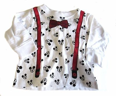 New Disney Baby Mickey Mouse Boys Newborn Top Shirt White Red Black Long Sleeve