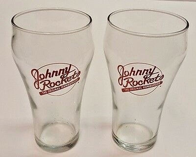 "Johnny Rockets The Original Hamburger 6"" Drinking Glasses - Lot of 2"