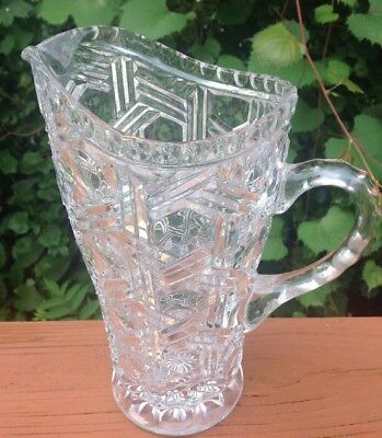 """Vintage Clear Cut Glass Crystal Water Pitcher 9 1/2"""" Heavy Unknown Maker"""