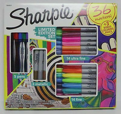 Sharpie Limited Edition Set 39 Count 36 Markers + 3 Bonus Coloring Pages