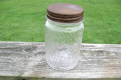 EARLY ANTIQUE JUMBO PEANUT BUTTER 1lb JAR FOR THE KIDDIES SWIRLED GLASS