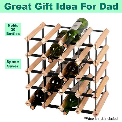 20 Bottle Pine Wood Wine Rack Storage Unit Cellar Bar Decor Fathers Day Gift NEW