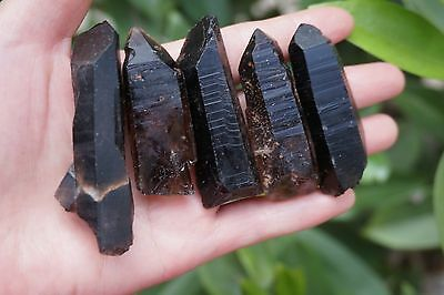 96g  Black QUARTZ CRYSTAL ROUGH GEM specimen NO.6-21-22