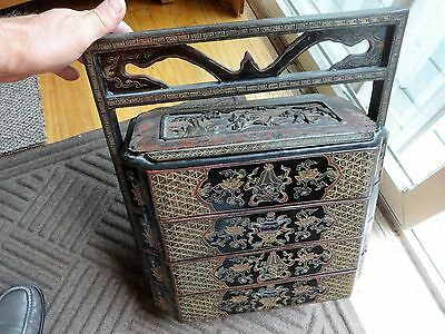 Antique Large Chinese 4 Tier  Wedding Basket Box black laquor