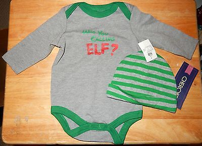 """NWT Newborn Christmas Body Suit Stocking Hat """"Who You Calling Elf?"""""""