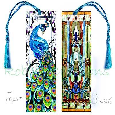 Peacock 'Look of' STAINED GLASS Style LARGE BOOKMARK ART w/Tassel-Card Book Mark