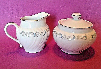 Sugar Bowl And Cream Pitcher With Blue And Silver Trim - Camelot China Japan