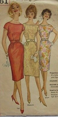 Vintage 50s Women Simplicity Pattern Lace Sheath Dress TALL Or Small W Pockets!