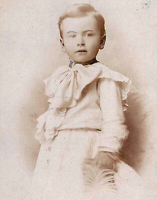Vintage Photo (c.1890s) - Young Boy in White Dress - Philadelphia, PA - Cab Card