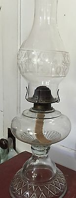 Vintage, Etched Glass Hurricane Oil Lamp