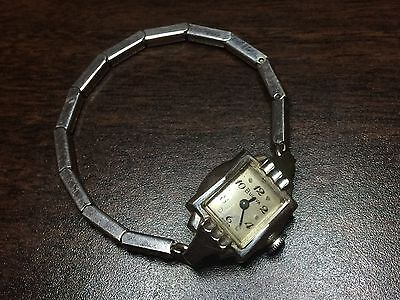 Vintage 1956 Bulova Anita Ladies Mechanical Watch - 10k White RGP - Works