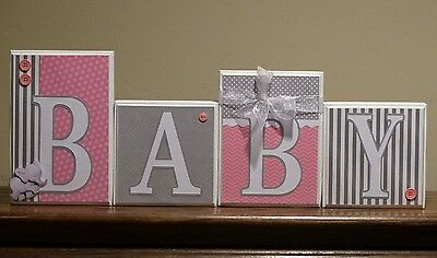 Pink Gray Baby Name Letters Nursery Decor Elephant Baby Shower Baby Name Blocks