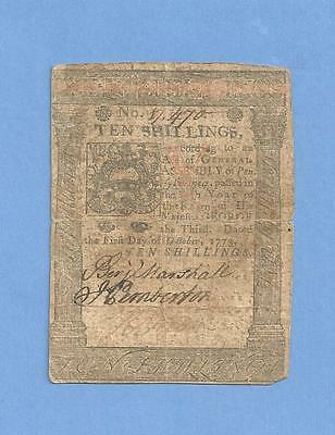 1773 Pennsylvania 10 Shillings Colonial Currency Solid Details Very Fine