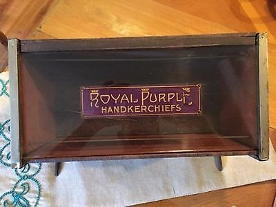 Antique ROYAL PURPLE COUNTERTOP HANDKERCHIEF DISPLAY CASE