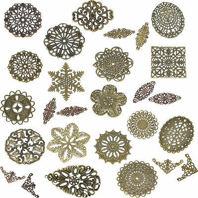 Alloy Bronze Filigree Flower Wraps Jewelry Making Connectors 50pcs/lot