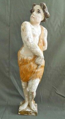 Cherub Antique Carved Wood Polychrome Putti Painted Carving Religious Nude Boy